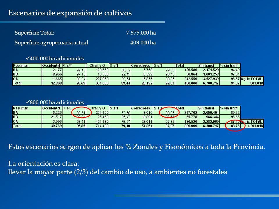 Superficie Total: 7.575.000 ha Superficie agropecuaria actual 403.000 ha 400.000 ha adicionales Escenarios de expansión de cultivos Ctral. y O 800.000