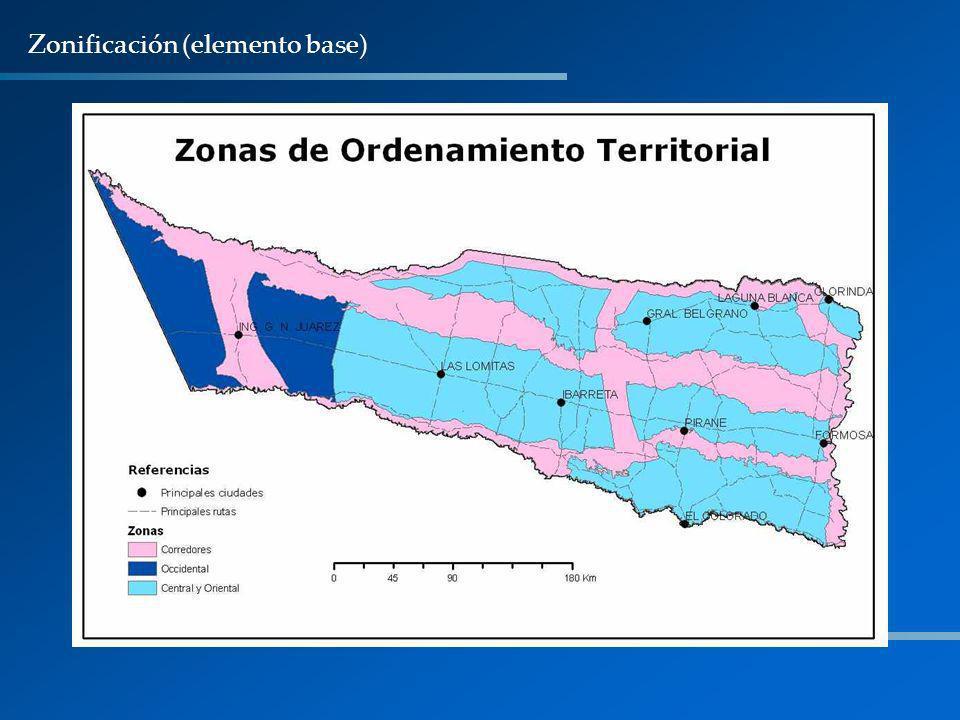 Valores máximos admisibles de cambios de uso para cada Zona.