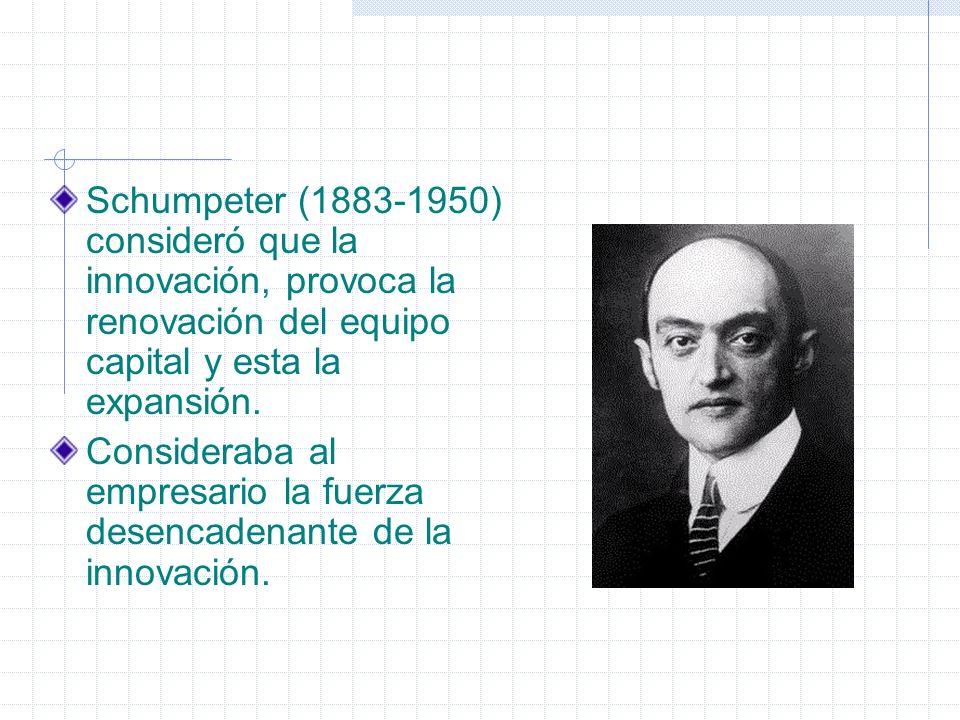 Schumpeter (1883-1950) consideró que la innovación, provoca la renovación del equipo capital y esta la expansión. Consideraba al empresario la fuerza