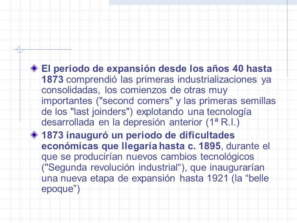 El periodo de expansión desde los años 40 hasta 1873 comprendió las primeras industrializaciones ya consolidadas, los comienzos de otras muy important