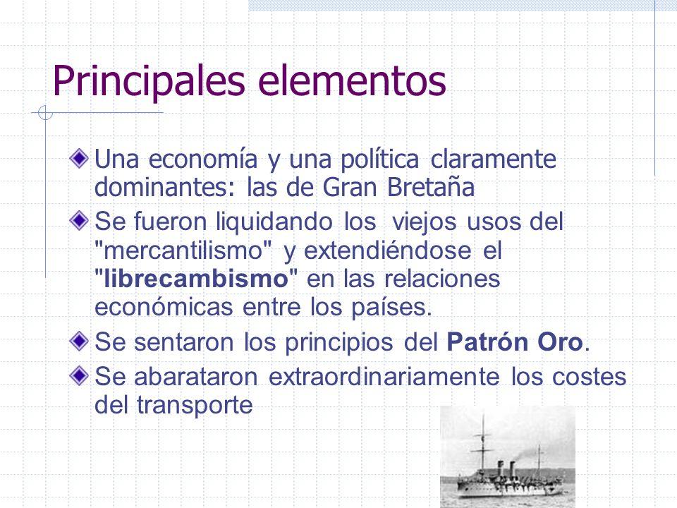 Principales elementos Una economía y una política claramente dominantes: las de Gran Bretaña Se fueron liquidando los viejos usos del