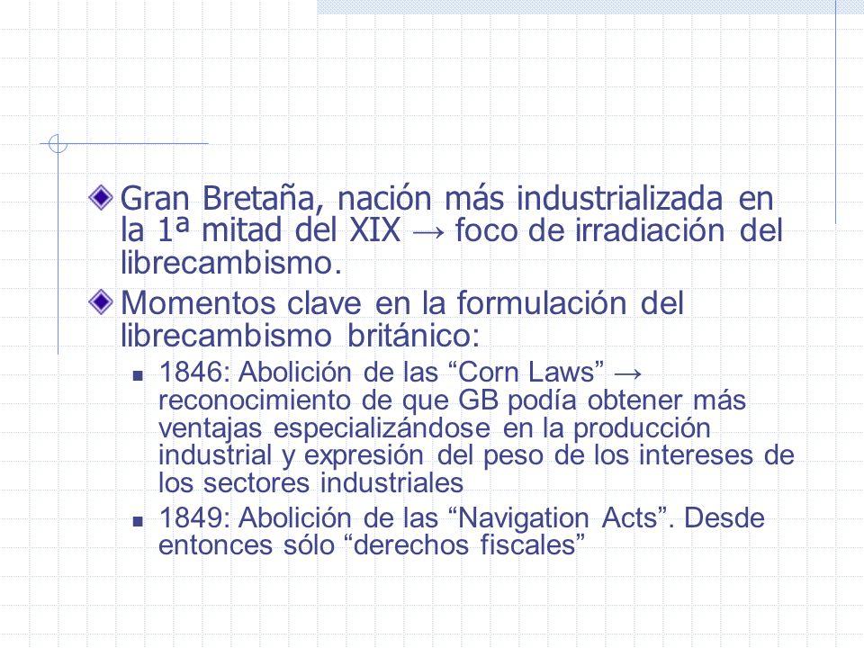 Gran Bretaña, nación más industrializada en la 1ª mitad del XIX foco de irradiación del librecambismo. Momentos clave en la formulación del librecambi