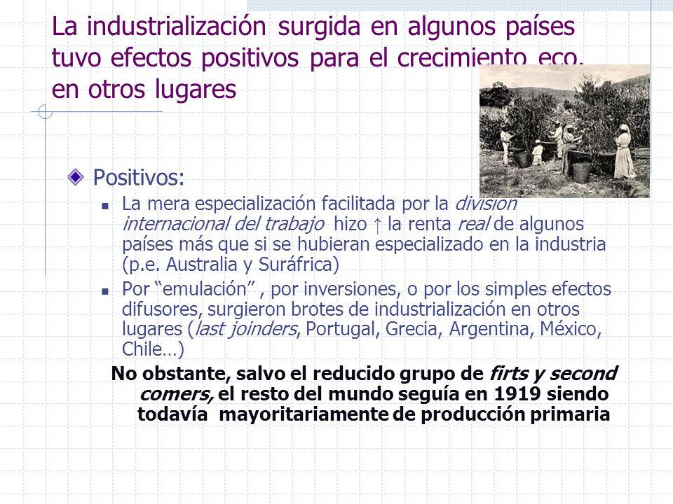 La industrialización surgida en algunos países tuvo efectos positivos para el crecimiento eco. en otros lugares Positivos: La mera especialización fac