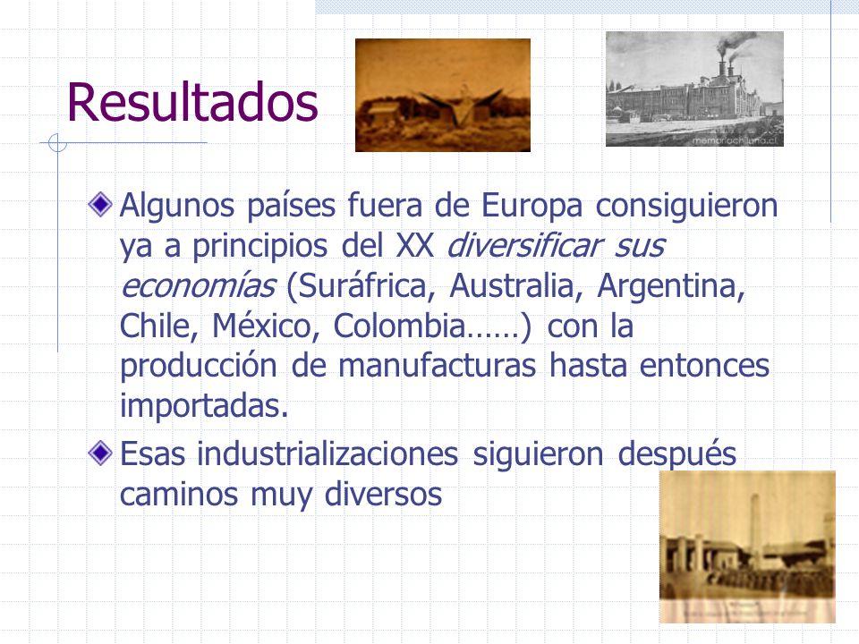Resultados Algunos países fuera de Europa consiguieron ya a principios del XX diversificar sus economías (Suráfrica, Australia, Argentina, Chile, Méxi