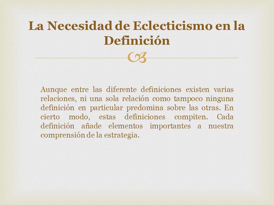 Aunque entre las diferente definiciones existen varias relaciones, ni una sola relación como tampoco ninguna definición en particular predomina sobre