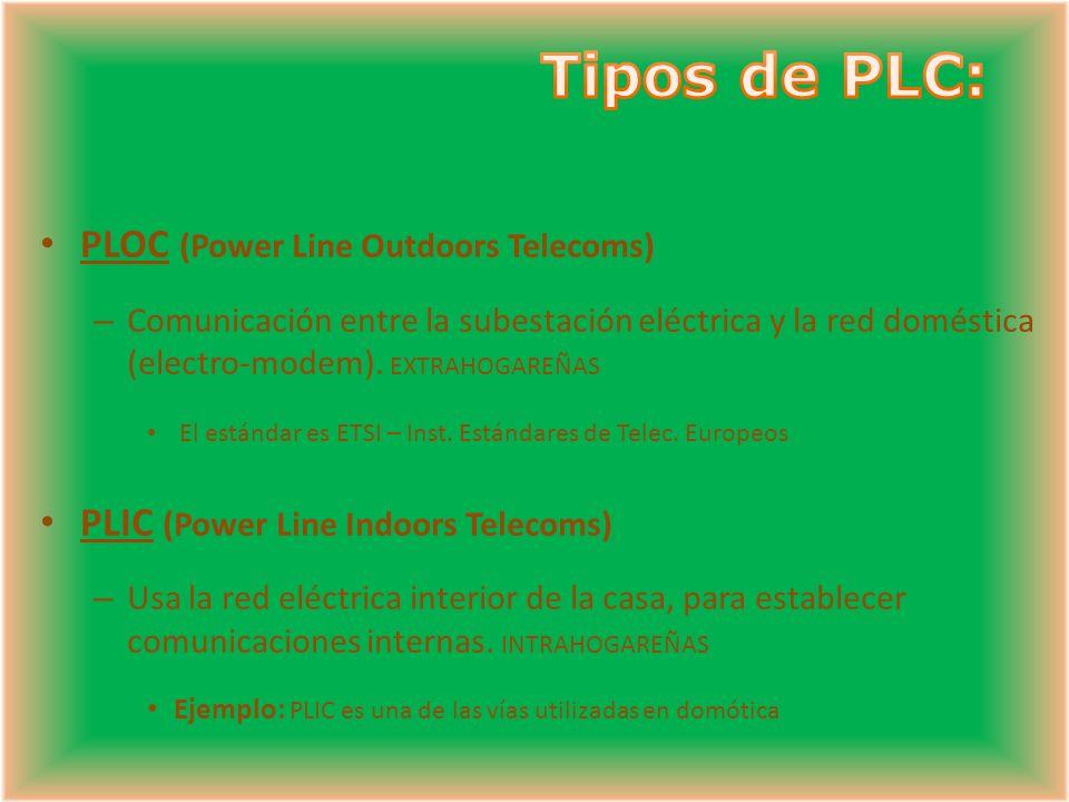 PLOC (Power Line Outdoors Telecoms) – Comunicación entre la subestación eléctrica y la red doméstica (electro-modem). EXTRAHOGAREÑAS El estándar es ET