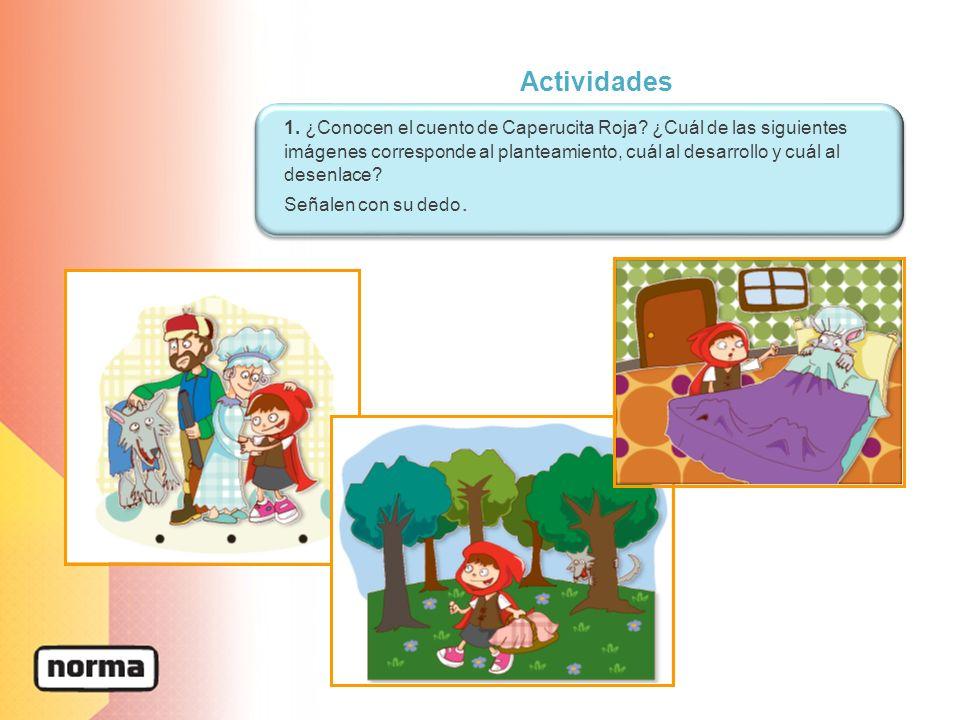 Actividades 1. ¿Conocen el cuento de Caperucita Roja? ¿Cuál de las siguientes imágenes corresponde al planteamiento, cuál al desarrollo y cuál al dese