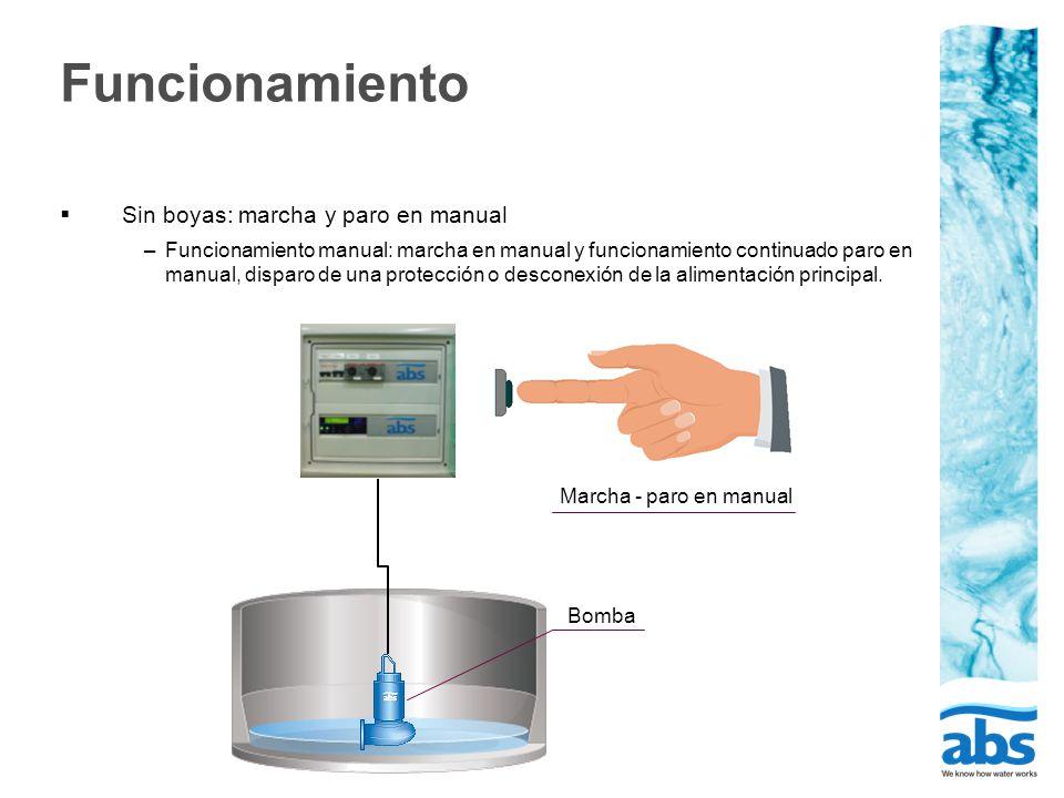 Funcionamiento Sin boyas: marcha y paro en manual –Funcionamiento manual: marcha en manual y funcionamiento continuado paro en manual, disparo de una protección o desconexión de la alimentación principal.