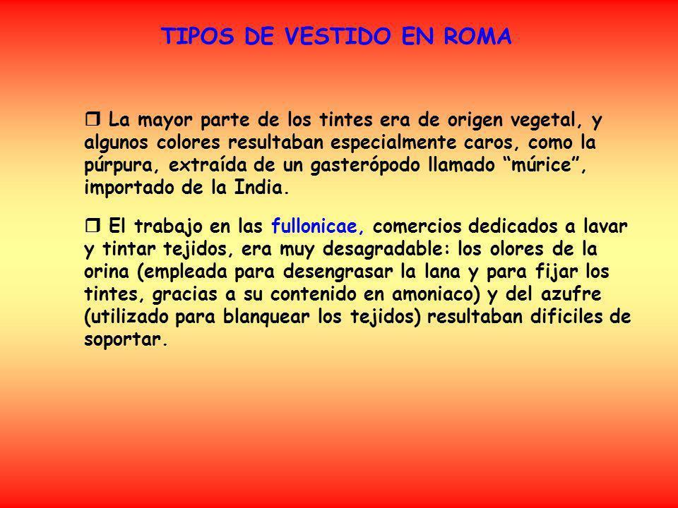 TIPOS DE VESTIDO EN ROMA Interiores Exteriores Otros vestidos Calzado
