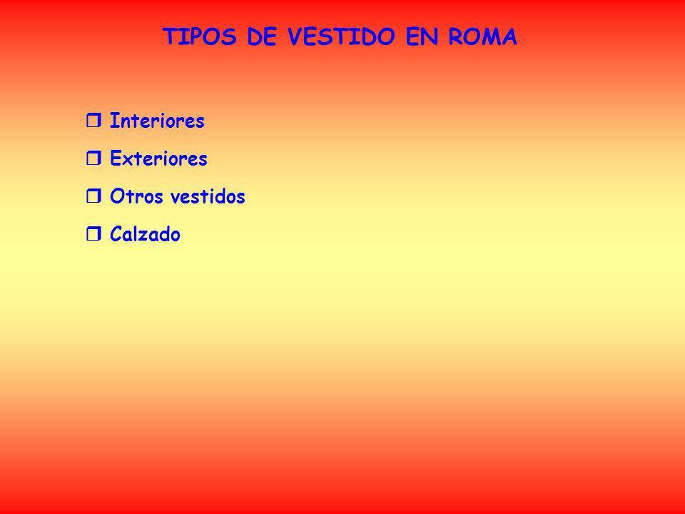 TIPOS DE VESTIDO EN ROMA (Interiores) SUBLIGAR o SUBLIGACULUM A diferencia de los griegos, los hombres romanos llevaban ropa interior, hecha generalmente de lino.