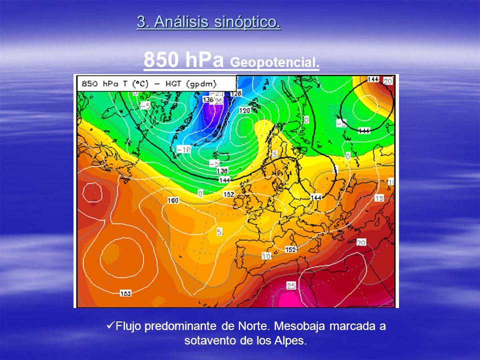 3. Análisis sinóptico. Flujo predominante de Norte. Mesobaja marcada a sotavento de los Alpes. 850 hPa Geopotencial.