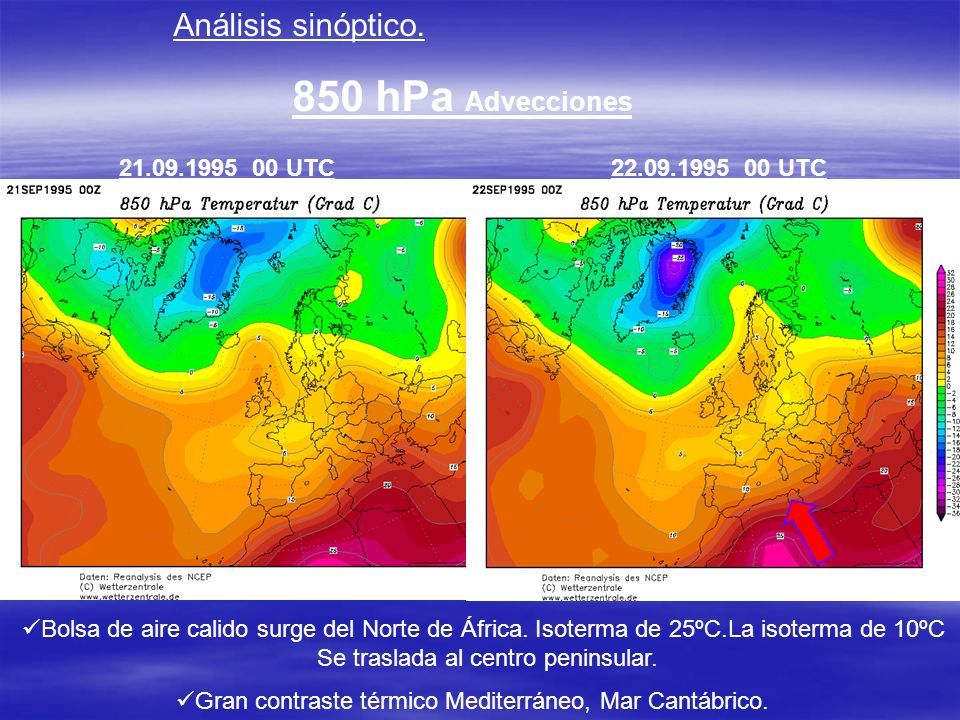 Análisis sinóptico. 850 hPa Advecciones 22.09.1995 00 UTC21.09.1995 00 UTC Bolsa de aire calido surge del Norte de África. Isoterma de 25ºC.La isoterm
