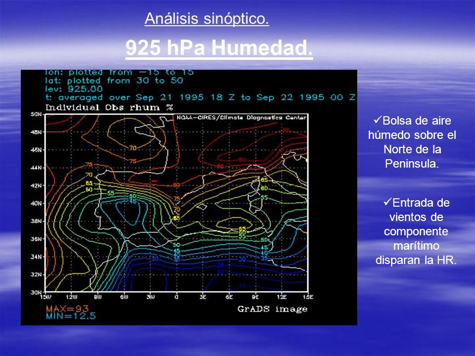 Análisis sinóptico. 925 hPa Humedad. Bolsa de aire húmedo sobre el Norte de la Peninsula. Entrada de vientos de componente marítimo disparan la HR.