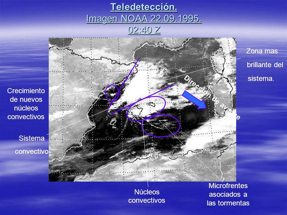 Teledetección. Imagen NOAA 22.09.1995. 02:40 Z Crecimiento de nuevos núcleos convectivos Sistema convectivo Zona mas brillante del sistema. Núcleos co