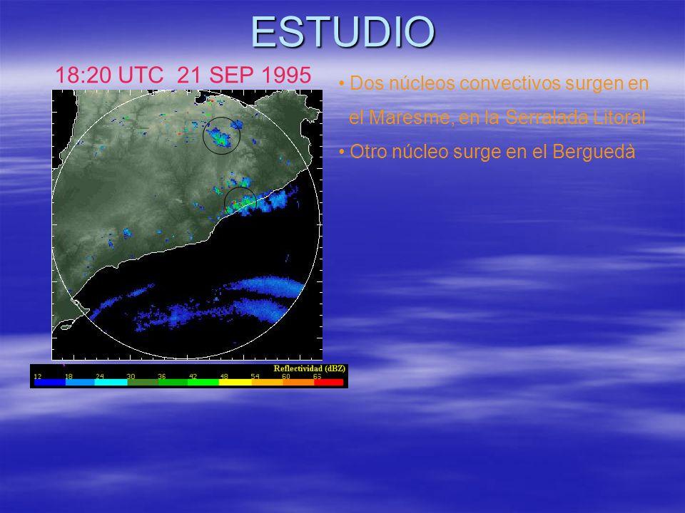 ESTUDIO 18:20 UTC 21 SEP 1995 Dos núcleos convectivos surgen en el Maresme, en la Serralada Litoral Otro núcleo surge en el Berguedà
