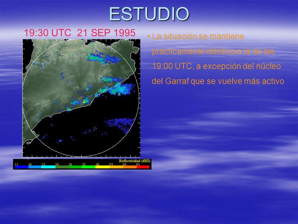 ESTUDIO 19:30 UTC 21 SEP 1995 La situación se mantiene prácticamente idéntica a la de las 19:00 UTC, a excepción del núcleo del Garraf que se vuelve m