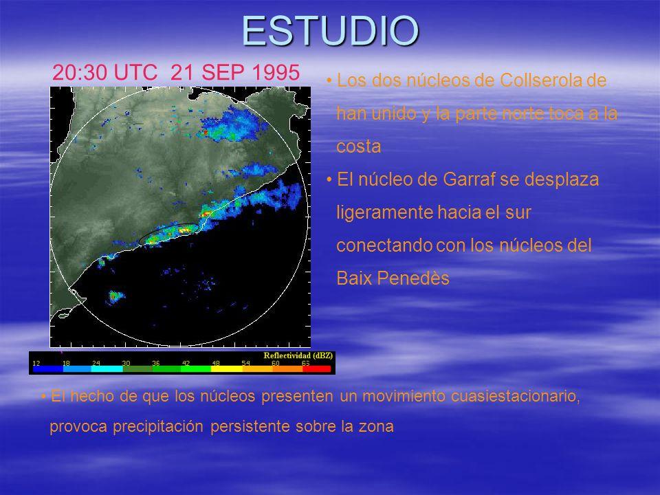 ESTUDIO 20:30 UTC 21 SEP 1995 Los dos núcleos de Collserola de han unido y la parte norte toca a la costa El núcleo de Garraf se desplaza ligeramente