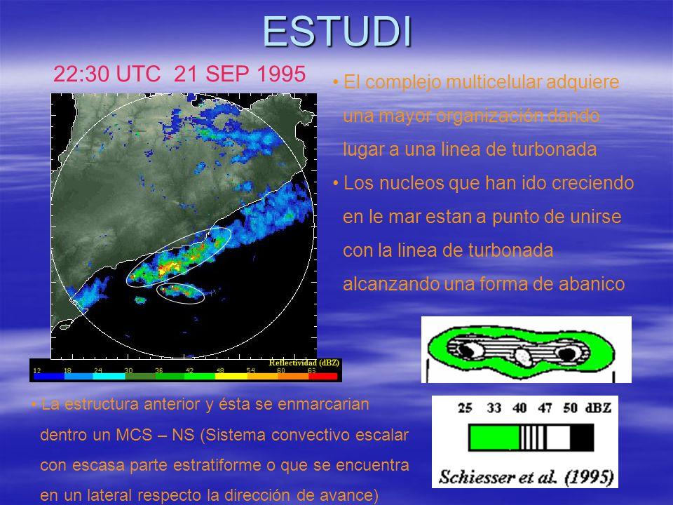 ESTUDI 22:30 UTC 21 SEP 1995 El complejo multicelular adquiere una mayor organización dando lugar a una linea de turbonada Los nucleos que han ido cre