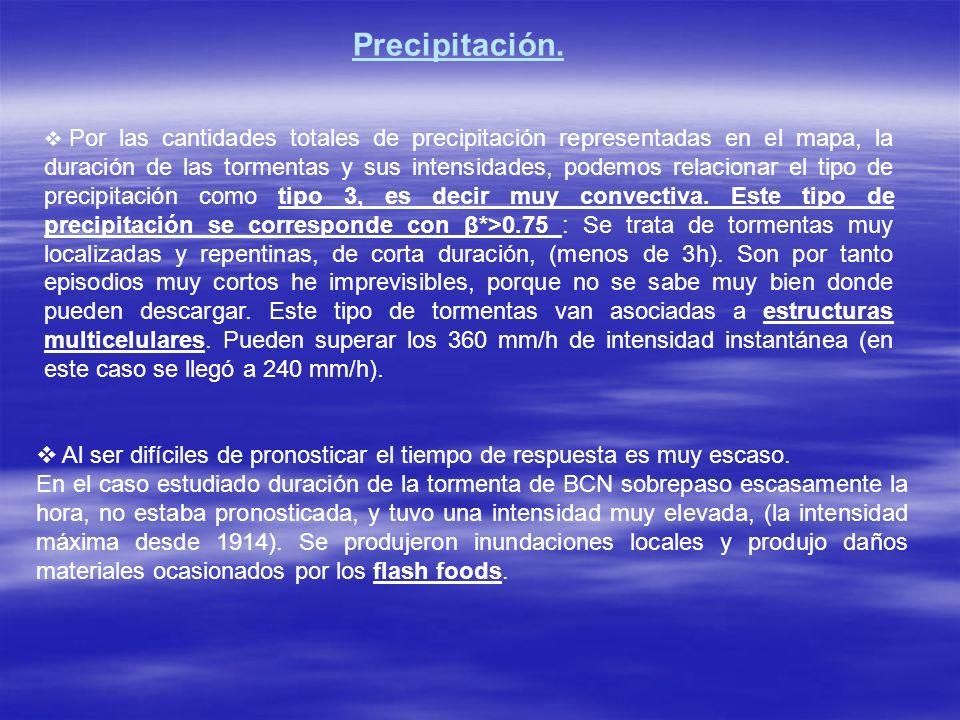 Por las cantidades totales de precipitación representadas en el mapa, la duración de las tormentas y sus intensidades, podemos relacionar el tipo de p