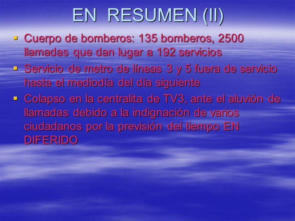 EN RESUMEN (II) Cuerpo de bomberos: 135 bomberos, 2500 llamadas que dan lugar a 192 servicios Cuerpo de bomberos: 135 bomberos, 2500 llamadas que dan