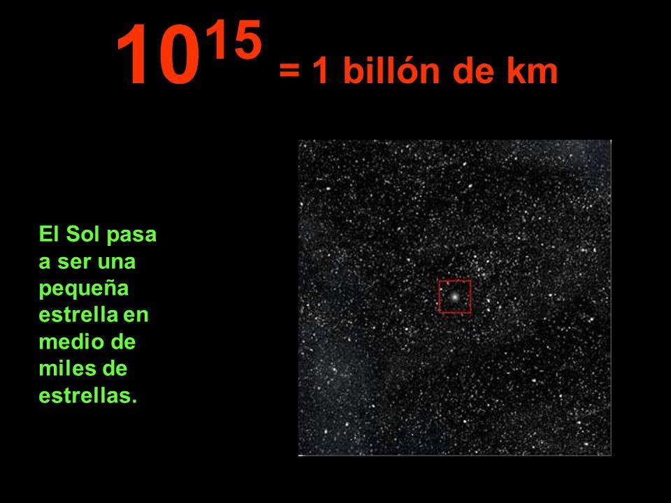 El Sol pasa a ser una pequeña estrella en medio de miles de estrellas. 10 15 = 1 billón de km