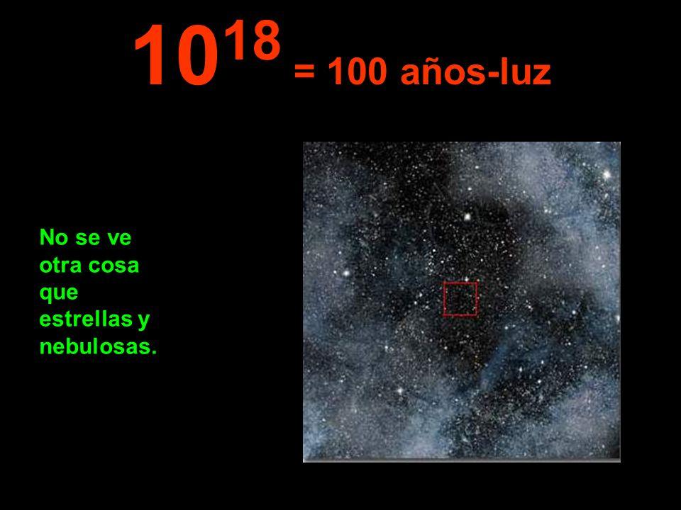 No se ve otra cosa que estrellas y nebulosas. 10 18 = 100 años-luz