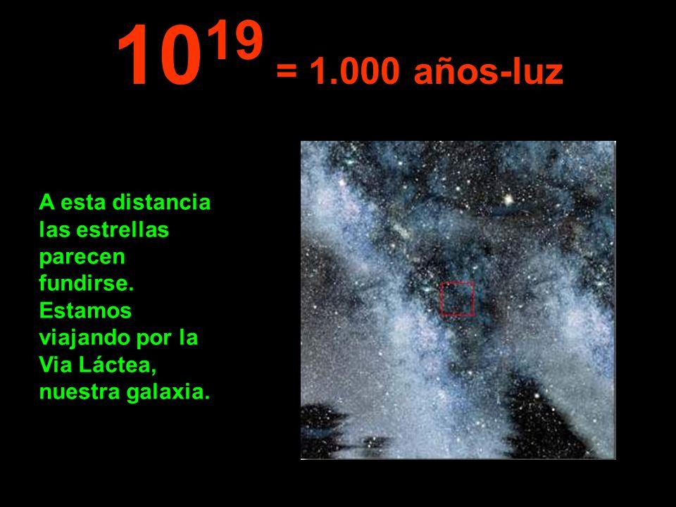 10 19 = 1.000 años-luz A esta distancia las estrellas parecen fundirse. Estamos viajando por la Via Láctea, nuestra galaxia.