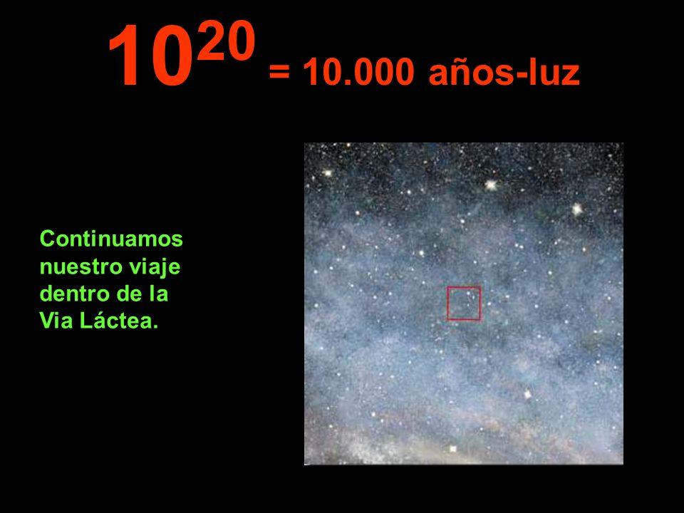 Continuamos nuestro viaje dentro de la Via Láctea. 10 20 = 10.000 años-luz