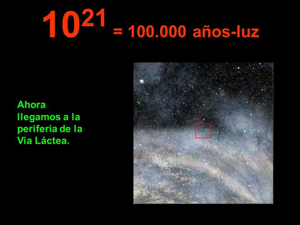 Ahora llegamos a la periferia de la Via Láctea. 10 21 = 100.000 años-luz