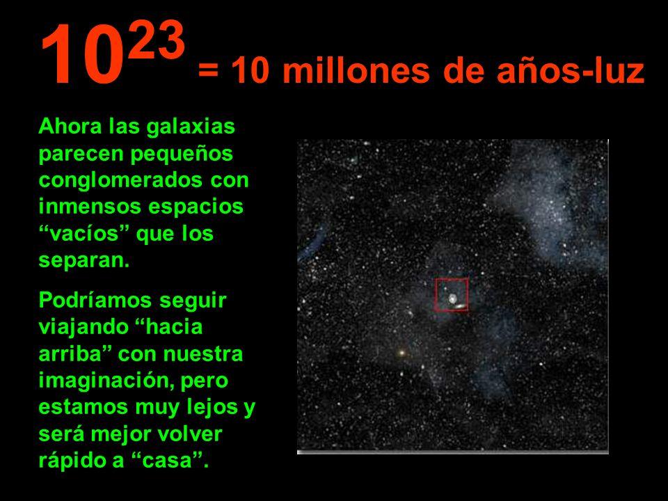 Ahora las galaxias parecen pequeños conglomerados con inmensos espacios vacíos que los separan. Podríamos seguir viajando hacia arriba con nuestra ima