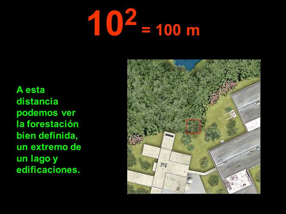 A esta distancia podemos ver la forestación bien definida, un extremo de un lago y edificaciones. 10 2 = 100 m
