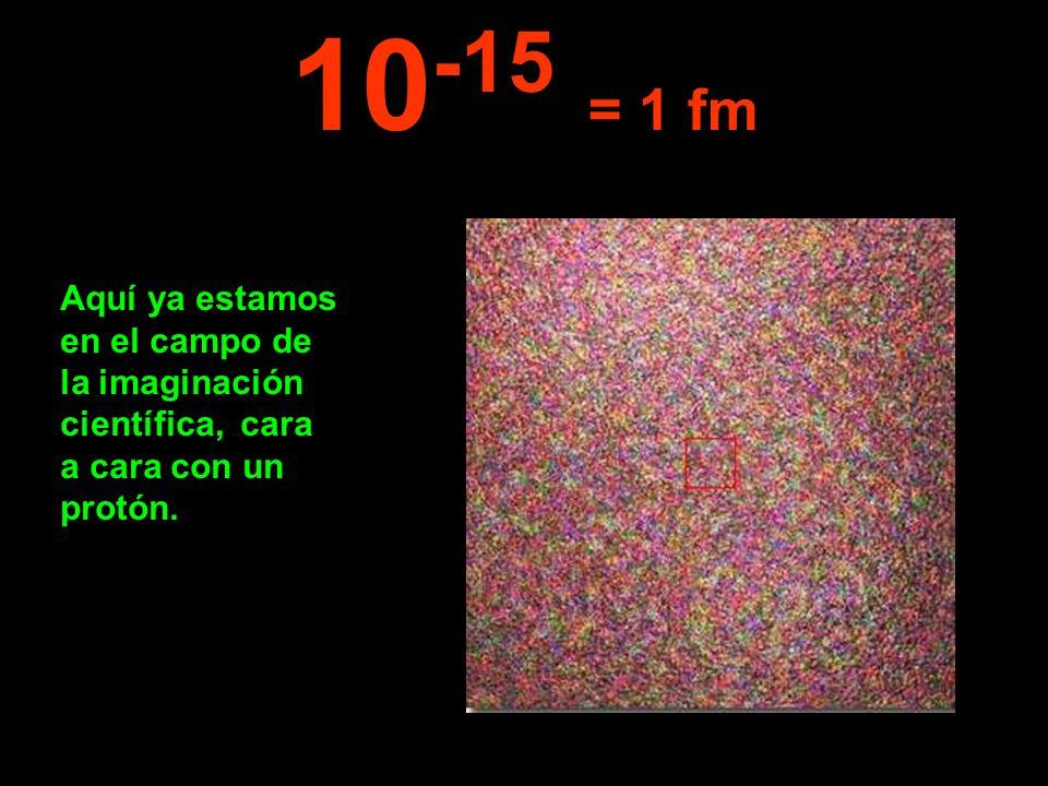 Aquí ya estamos en el campo de la imaginación científica, cara a cara con un protón. 10 -15 = 1 fm
