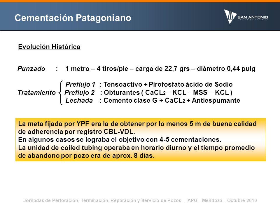 Jornadas de Perforación, Terminación, Reparación y Servicio de Pozos – IAPG - Mendoza – Octubre 2010 Cementación Patagoniano Análisis del problema Aporte de agua de formación Limpieza del espacio anular Admisiones excesivas