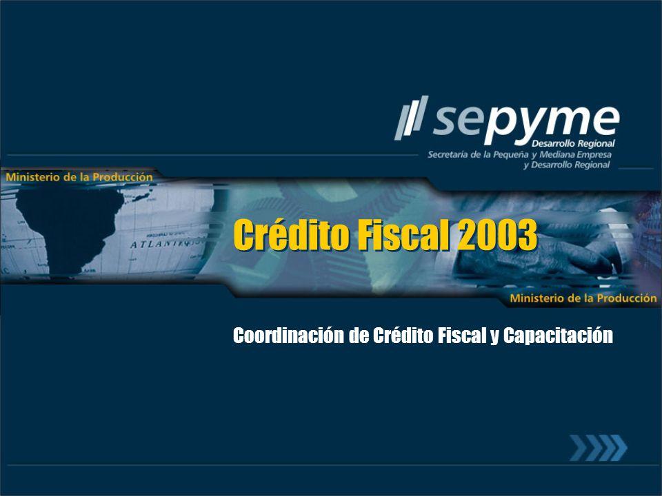 Crédito Fiscal 2003 Coordinación de Crédito Fiscal y Capacitación