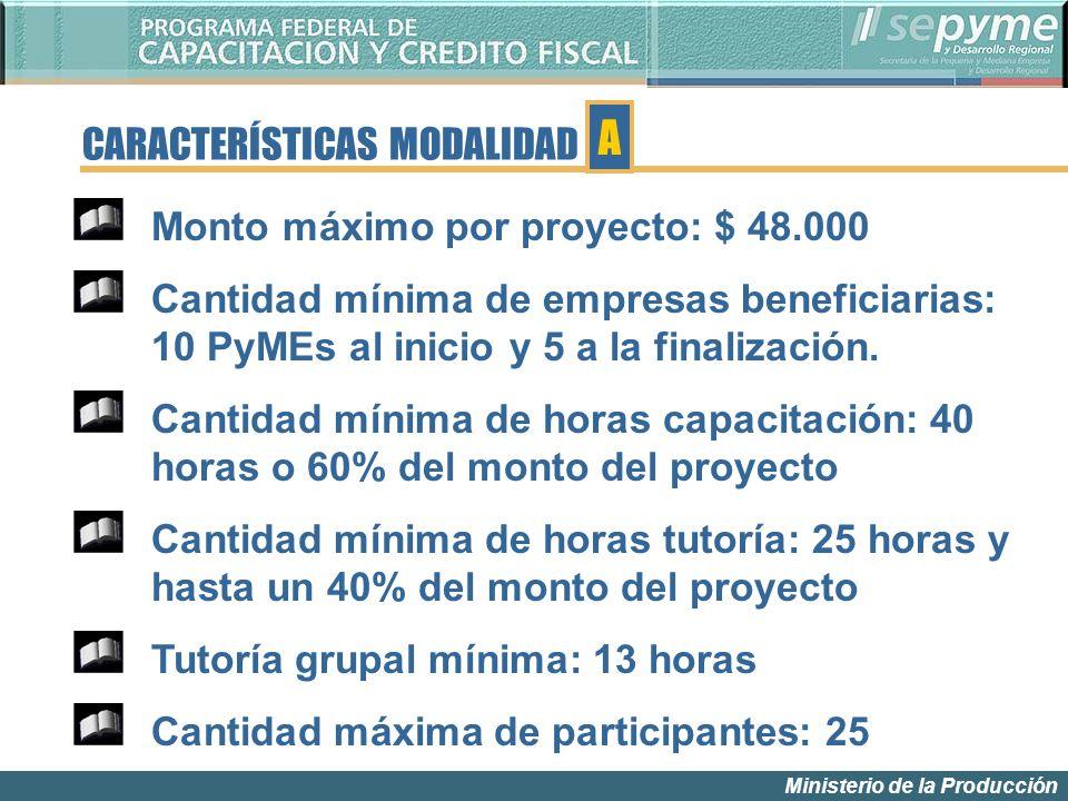 Ministerio de la Producción Monto máximo por proyecto: $ 48.000 Cantidad mínima de empresas beneficiarias: 10 PyMEs al inicio y 5 a la finalización. C