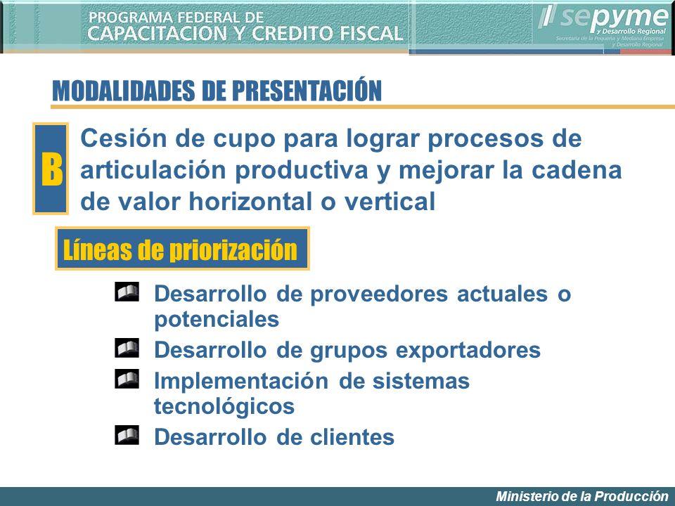 Ministerio de la Producción MODALIDADES DE PRESENTACIÓN Líneas de priorización B Cesión de cupo para lograr procesos de articulación productiva y mejo