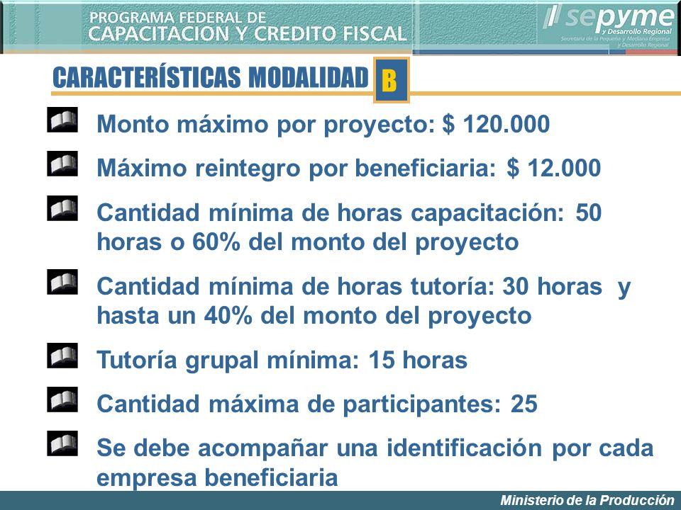 Ministerio de la Producción CARACTERÍSTICAS MODALIDAD Monto máximo por proyecto: $ 120.000 Máximo reintegro por beneficiaria: $ 12.000 Cantidad mínima
