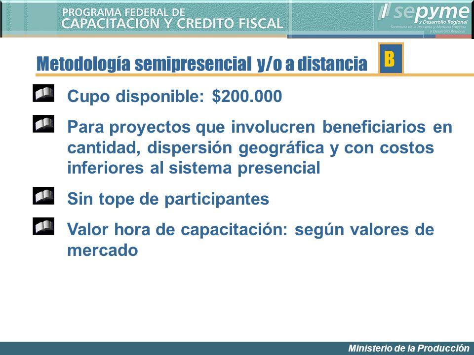 Ministerio de la Producción Metodología semipresencial y/o a distancia Cupo disponible: $200.000 Para proyectos que involucren beneficiarios en cantid