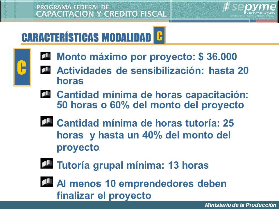 Ministerio de la Producción Monto máximo por proyecto: $ 36.000 Actividades de sensibilización: hasta 20 horas Cantidad mínima de horas capacitación: