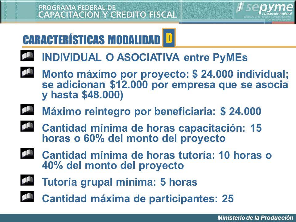 Ministerio de la Producción CARACTERÍSTICAS MODALIDAD INDIVIDUAL O ASOCIATIVA entre PyMEs Monto máximo por proyecto: $ 24.000 individual; se adicionan