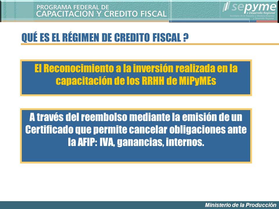 Ministerio de la Producción QUÉ ES EL RÉGIMEN DE CREDITO FISCAL .