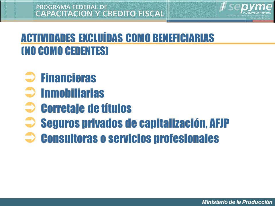 Ministerio de la Producción Financieras Inmobiliarias Corretaje de títulos Seguros privados de capitalización, AFJP Consultoras o servicios profesionales ACTIVIDADES EXCLUÍDAS COMO BENEFICIARIAS (NO COMO CEDENTES)