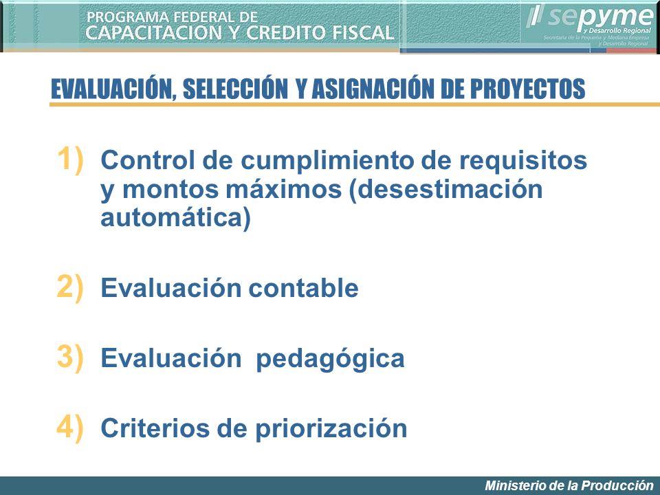 Ministerio de la Producción 1) Control de cumplimiento de requisitos y montos máximos (desestimación automática) 2) Evaluación contable 3) Evaluación pedagógica 4) Criterios de priorización EVALUACIÓN, SELECCIÓN Y ASIGNACIÓN DE PROYECTOS