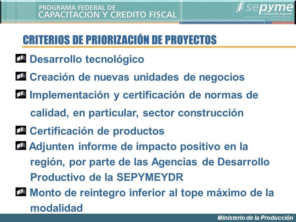 Ministerio de la Producción Desarrollo tecnológico Creación de nuevas unidades de negocios Implementación y certificación de normas de calidad, en par