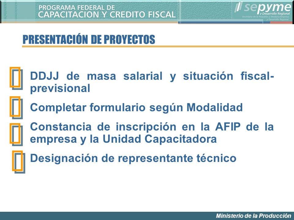 Ministerio de la Producción PRESENTACIÓN DE PROYECTOS DDJJ de masa salarial y situación fiscal- previsional Completar formulario según Modalidad Const
