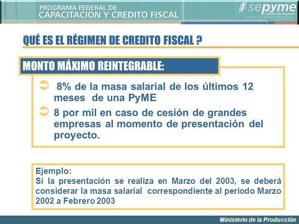 Ministerio de la Producción Ejemplo: Si la presentación se realiza en Marzo del 2003, se deberá considerar la masa salarial correspondiente al período