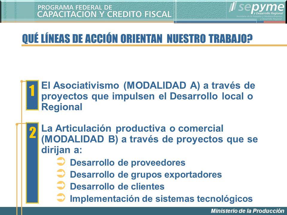 Ministerio de la Producción El Asociativismo (MODALIDAD A) a través de proyectos que impulsen el Desarrollo local o Regional 1 2 La Articulación productiva o comercial (MODALIDAD B) a través de proyectos que se dirijan a: Desarrollo de proveedores Desarrollo de grupos exportadores Desarrollo de clientes Implementación de sistemas tecnológicos QUÉ LÍNEAS DE ACCIÓN ORIENTAN NUESTRO TRABAJO