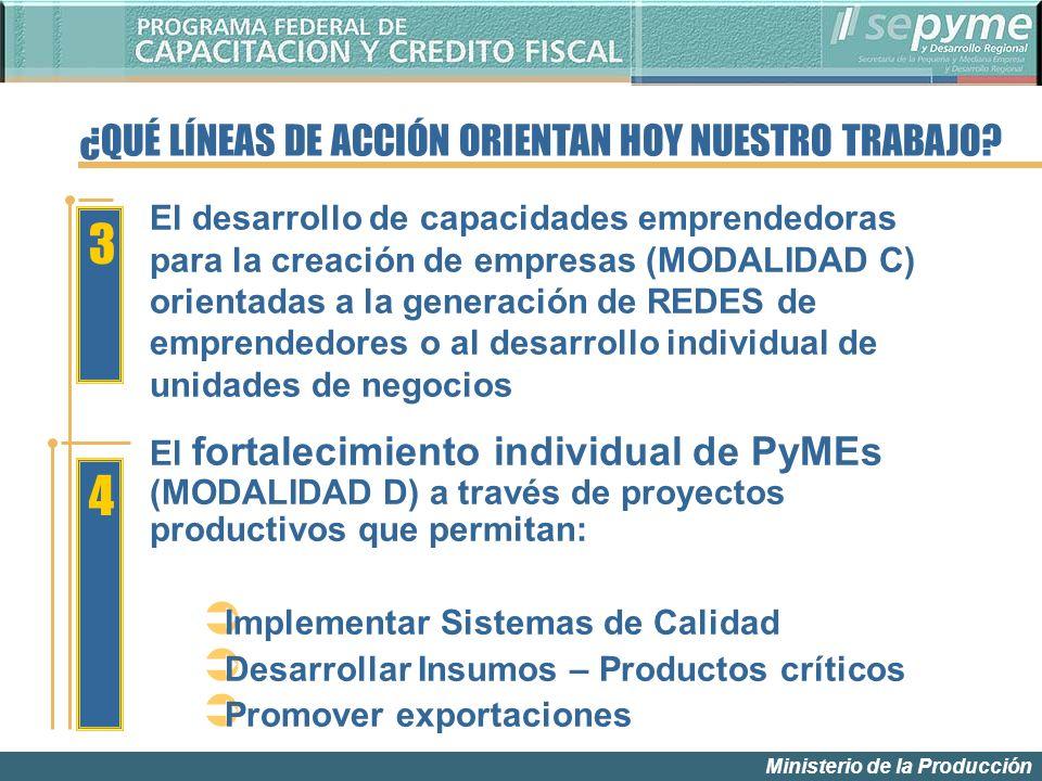 Ministerio de la Producción 3 El fortalecimiento individual de PyMEs (MODALIDAD D) a través de proyectos productivos que permitan: Implementar Sistema