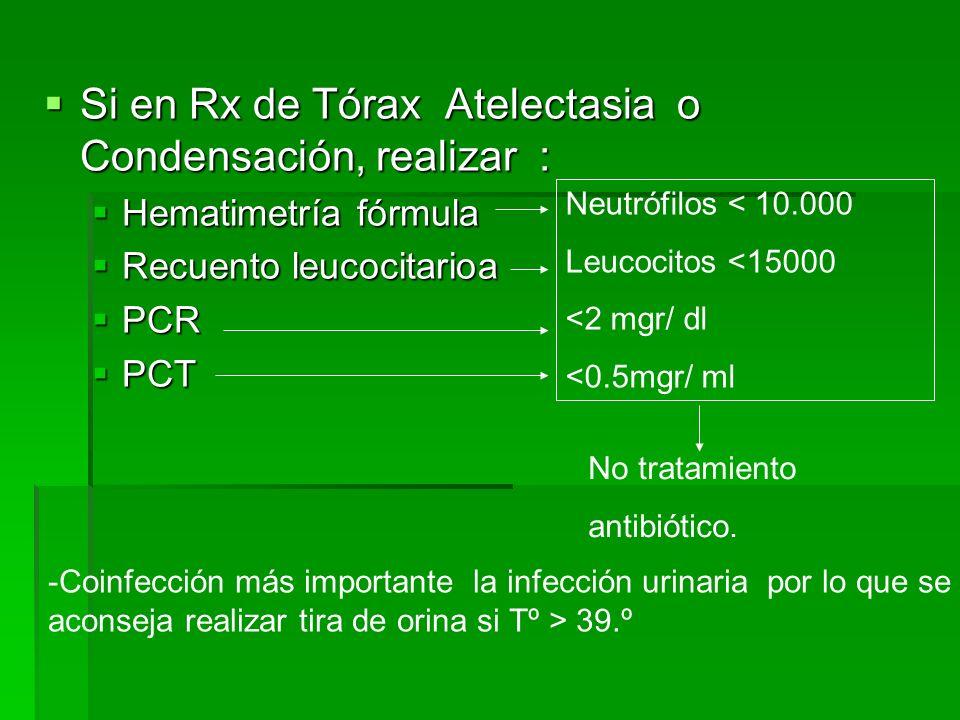 Si en Rx de Tórax Atelectasia o Condensación, realizar : Si en Rx de Tórax Atelectasia o Condensación, realizar : Hematimetría fórmula Hematimetría fórmula Recuento leucocitarioa Recuento leucocitarioa PCR PCR PCT PCT Neutrófilos < 10.000 Leucocitos <15000 <2 mgr/ dl <0.5mgr/ ml No tratamiento antibiótico.