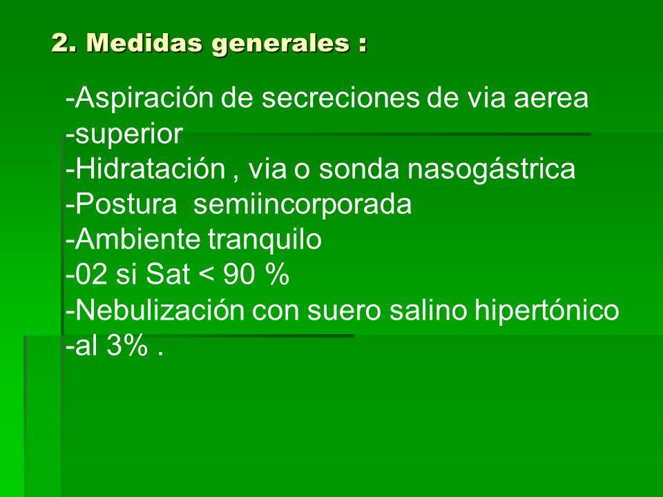 2. Medidas generales : -Aspiración de secreciones de via aerea -superior -Hidratación, via o sonda nasogástrica -Postura semiincorporada -Ambiente tra